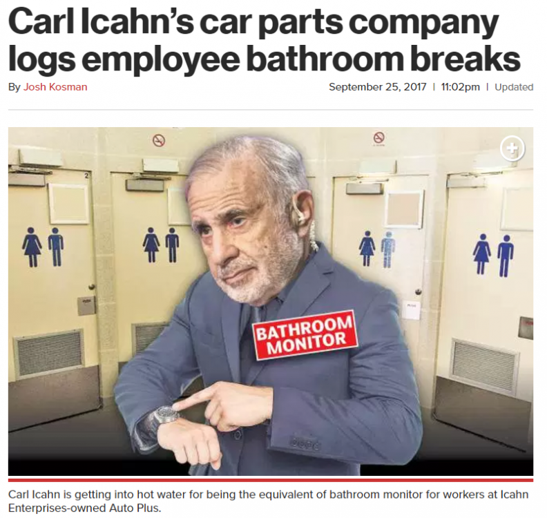 Carl Icahn's car parts company logs employee bathroom breaks
