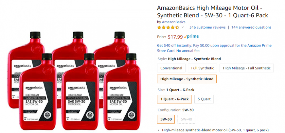 AmazonBasics High Mileage Motor Oil - Synthetic Blend - 5W-30 - 1 Quart-6 Pack