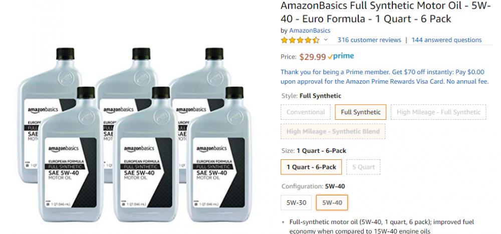 AmazonBasics Full Synthetic Motor Oil - 5W-40 - Euro Formula - 1 Quart - 6 Pack